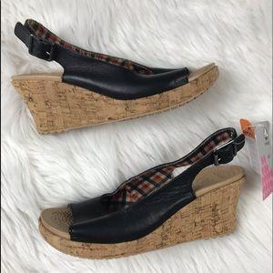 NWT Crocs Black A-Leigh Slingback Leather Wedges